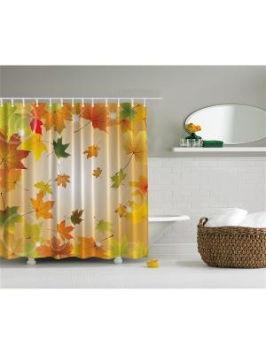 Фотоштора для ванной Жёлтые листья, лиловые цветы, бирюзовое дерево, разноцветная бабочка, 180x200 Magic Lady шв_2645
