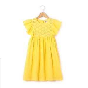 Платье однотонное средней длины, расширяющееся книзу, без рукавов La Redoute Collections. Цвет: желтый,сиреневый