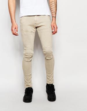 G-Star Песочные окрашенные супероблегающие джинсы стретч G‑Star 5620 3D. Цвет: stone