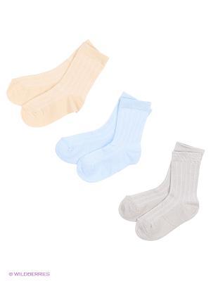 Носки - 3 пары Гамма. Цвет: голубой, желтый, серый