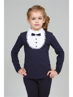 Блузка LIK. Цвет: белый, темно-синий