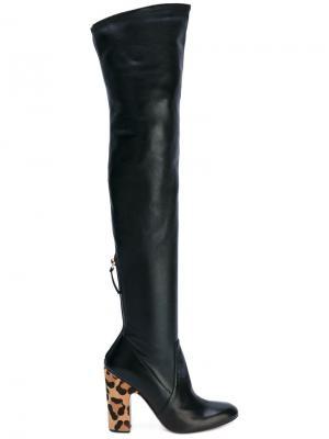 Ботфорты на леопардовом каблуке Francesco Russo. Цвет: чёрный