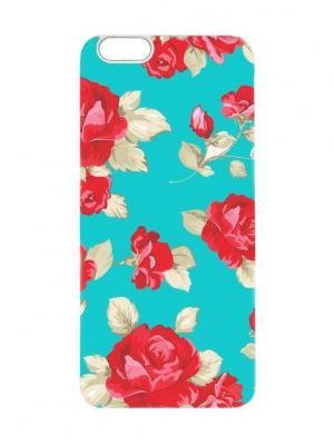 Чехол для iPhone 6 Малиновые розы на бирюзовом Chocopony. Цвет: бирюзовый, малиновый