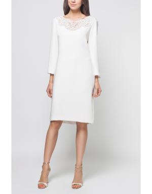 Шелковое платье Reem Acra. Цвет: белый