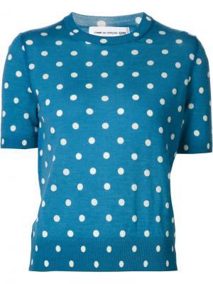 Джемпер с короткими рукавами и узором в горох Comme Des Garçons Girl. Цвет: синий
