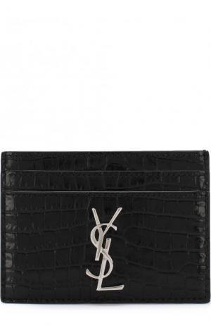 Кожаный футляр для кредитных карт с логотипом бренда Saint Laurent. Цвет: черный