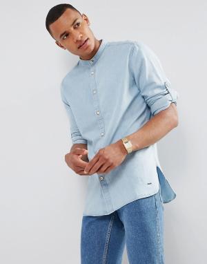 Esprit Джинсовая рубашка с воротом на пуговице. Цвет: синий