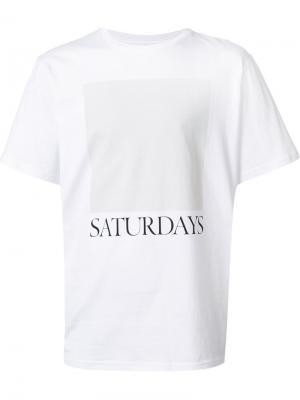 Футболка с принтом-логотипом Saturdays Surf Nyc. Цвет: белый