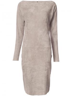 Приталенное платье с вырезом-лодочкой Jitrois. Цвет: телесный