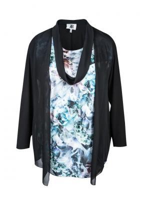 Блузка KR. Цвет: черный, серо-голубой