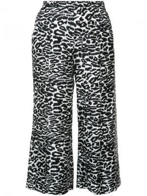 Укороченные брюки с леопардовым узором Piamita. Цвет: чёрный