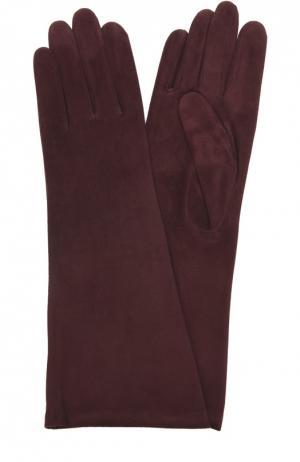 Удлиненные замшевые перчатки Agnelle. Цвет: бордовый
