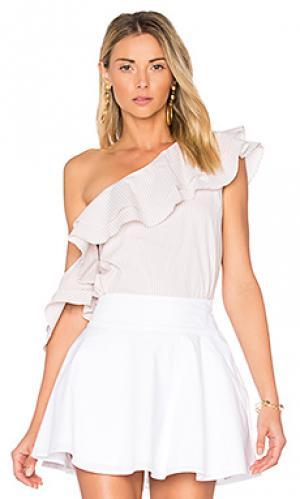 Блуза с асимметричными рюшами LAcademie L'Academie. Цвет: белый