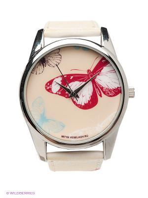 Часы Цветные бабочки Mitya Veselkov. Цвет: бежевый, красный