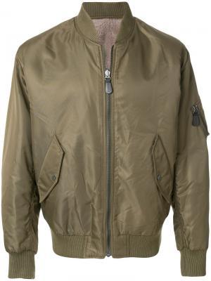Куртка-бомбер на молнии Yves Salomon. Цвет: зелёный
