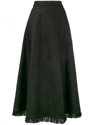 Длинная юбка с бахромой на подоле Barbara Casasola. Цвет: чёрный