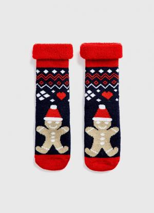 Махровые носки с жаккардом OSTIN. Цвет: темно-синий