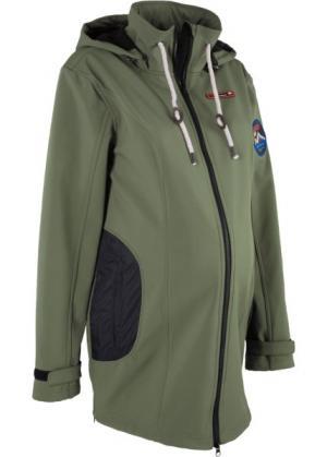 Куртка-софтшелл для беременных (оливковый) bonprix. Цвет: оливковый