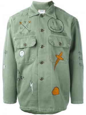 Рубашка в стиле милитари Htc Hollywood Trading Company. Цвет: зелёный
