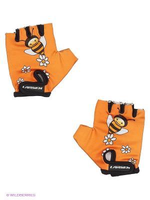 Велоперчатки Larsen. Цвет: оранжевый, серый, черный