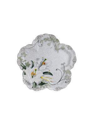 Блюдо фигурное Амадей в п/у Elff Ceramics. Цвет: белый, желтый, зеленый