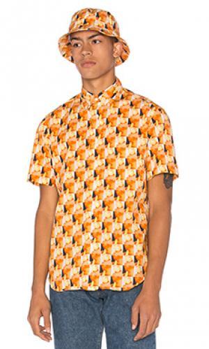 Рубашка на пуговицах Gitman Vintage. Цвет: оранжевый