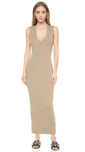 Платье Column с V-образным вырезом Wes Gordon. Цвет: миндаль