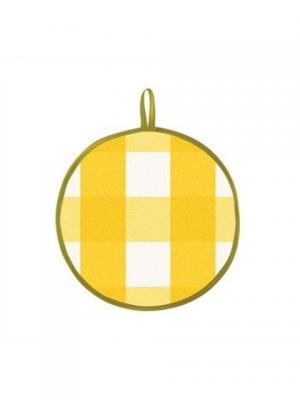 Прихватка 19 см., круг DEKORTEX. Цвет: желтый, белый