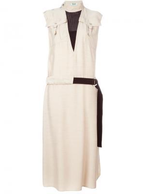 Платье с поясом Kenzo. Цвет: телесный