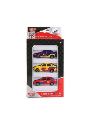Набор из 3-х машин  металлический Lada 7,5см . Технопарк. Цвет: желтый, красный, фиолетовый