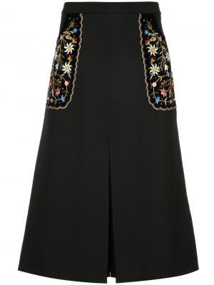 Юбка с цветочной вышивкой Vilshenko. Цвет: чёрный