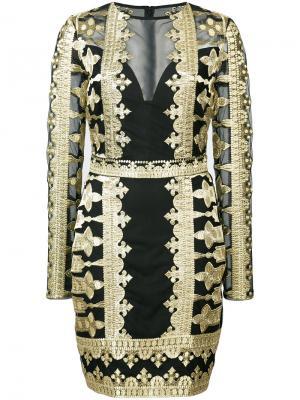 Кружевное платье с вышивкой Nicole Miller. Цвет: чёрный