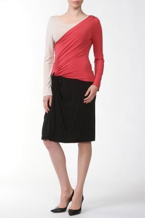 Платье Alberta Ferretti. Цвет: розовый, молочный, черный