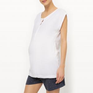 Пижама с шортами для периода беременности и грудного вскармливания из 2 предметов COCOON. Цвет: белый/ синий