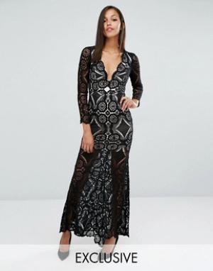 Love Triangle Кружевное платье макси с юбкой годе. Цвет: черный