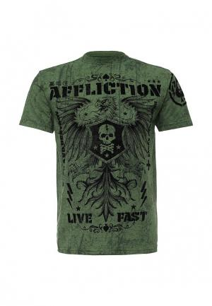 Футболка Affliction. Цвет: зеленый