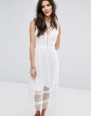 Abercrombie & Fitch Кружевное платье миди с молнией на спине. Цвет: белый
