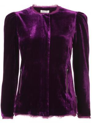 Приталенный пиджак с необработанными краями Love Shack Fancy. Цвет: розовый и фиолетовый