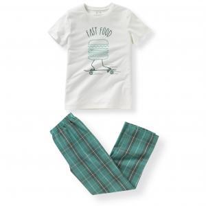 Пижама из двух материалов 10-16 лет R essentiel. Цвет: экрю/ зеленый