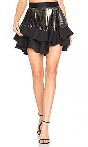 Ярусная плиссированная мини юбка astrid By Johnny. Цвет: черный
