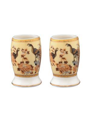Набор из двух вазочек под зубочистки Павлин на бежевом Elan Gallery. Цвет: бежевый, серый, коричневый