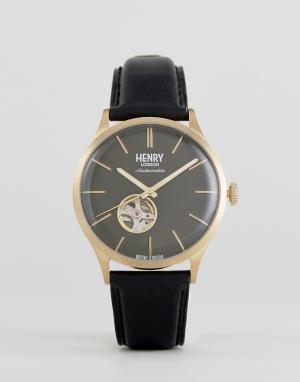 Henry London Часы с черным кожаным ремешком. Цвет: черный