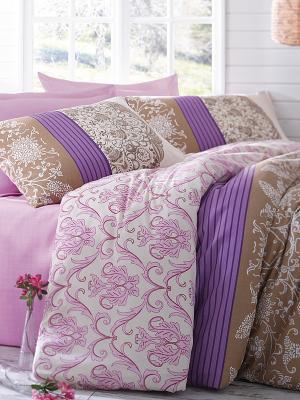 Комплект постельного белья Дантелла Тет-а-Тет. Цвет: розовый, коричневый, фиолетовый