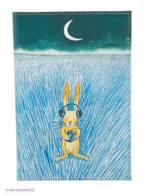 Обложка для автодокументов Заяц-меломан Mitya Veselkov. Цвет: голубой, зеленый