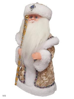 Дед Мороз музыкальный в золотой шубке (русская мелодия),30см А М Дизайн. Цвет: лазурный, сливовый, серебристый, коралловый, персиковый, белый