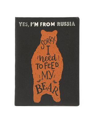 Обложка для паспорта Im russian. Bear Kawaii Factory. Цвет: черный, рыжий