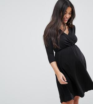 ASOS Maternity - Nursing Короткое приталенное платье для беременных с запахом. Цвет: черный