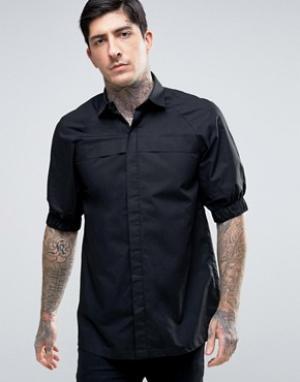 Rogues of London Рубашка скинни с эластичными манжетами. Цвет: черный