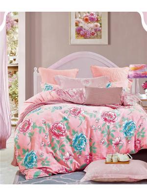 Постельное белье, евро 1st Home. Цвет: голубой, персиковый, розовый