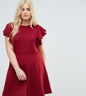 Praslin Платье с рукавами-рюш. Цвет: красный